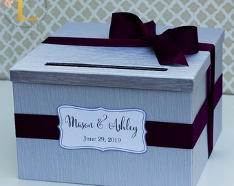Wedding Card Box Silver Plum Purple Lace Custom Made in your Color Card Holder