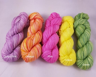 Hand Dyed, Superwash Merino Nylon, Sock Yarn Mini Skeins, Tiny Treats, socks, sock yarn, mini skeins, wool, merino yarn
