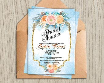 Rustic Bridal shower invitation Bridal shower Ranunculus invitation Wedding invitation printable Printable wedding flower invitation