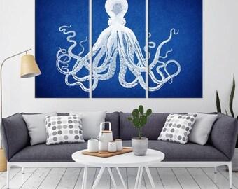 Große Kunst Marine blaue Krake Leinwand Druck, Navy Blau Octopus-Leinwand, Octopus Wandkunst, Oktopus-Leinwand Triptychon Wand Kunst Oktopus