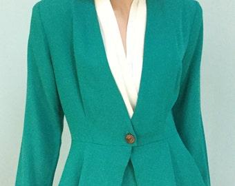 80's Office Suit,Size 10, Aqua, Two Piece Suit ,Sheri Martin