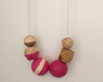 Wooden bead necklace //hot pink and Gold // hand painted