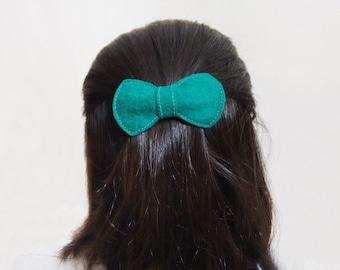 Bow hair clip, Green felt french clip