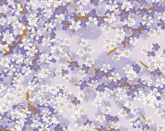 Chiyogami or yuzen paper - painterly shades of purple cherry blossoms with gold accents, 9x12 inches