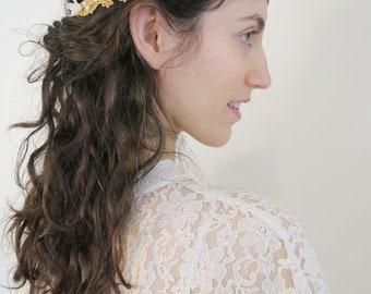 Boho bridal headpiece, Vintage  headband, Lace tiara, Lace crown, Lace forehead band, Gold forehead band, Boho headband, Metallic lace band,