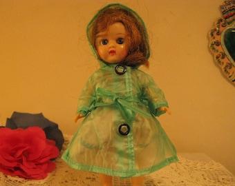 "Ginny Doll Raincoat  ~~   Green Soft Plastic Hooded Raincoat for 8"" Ginny Doll  ~~  Doll Raincoat"