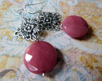Rose Pink Quartz and Antique Silver Filigree Earrings