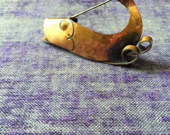 Vintage Totally Awesome Rebajes Copper Whale Fish Brooch Pin