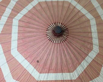 Bohemian paper parasol, rare Art Deco era pink paper parasol