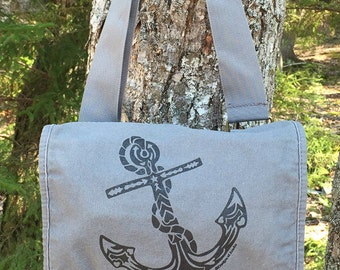 Anchor Tribal Tattoo Messenger Field Bag -  Screen Printed Original Design