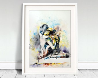 Original Watercolor Print - Come as you are. Art print of couple in love.Spring. Love.