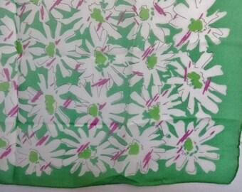 """Vintage Green Chiffon Flowers Floral scarf  72cm x 75cm / 28.3"""" x 29.5"""""""