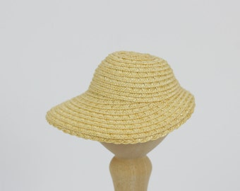 """Premium straw doll hat, broad brim bonnet for DIY, size XS for head circumference 5.5-6"""",  6 colors"""