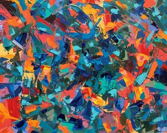 """Large Abstract Acrylic Painting by Evan Saenger/ Original Abstract Painting/ Abstract Expressionist Painting/ 18x24"""" on Stretched Canvas"""