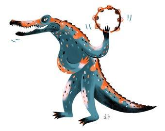 8x10 - Crocodile Playing Tambourine - Art Print