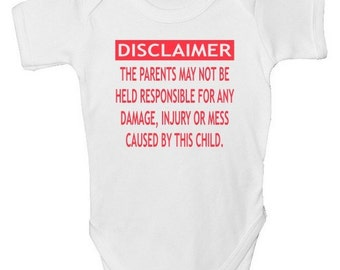 Funny Baby Grow - 'DISCLAIMER' with free P&P  Made from 100% Soft Natural Cotton.