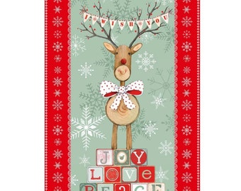 Christmas Reindeer Quilt Fabric Panel, Studio E 3313P Joy, Love, Peace by Lucie Crovatto, Log Reindeer Christmas Panel, Cotton, 23 1/2 x 44