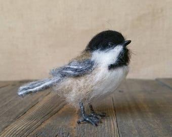 Needle Felt Chickadee, chickadee gift, Bird, Chickadees, Chickadee bird, Bird decor, Winter decor, Needle felting, Bird art,