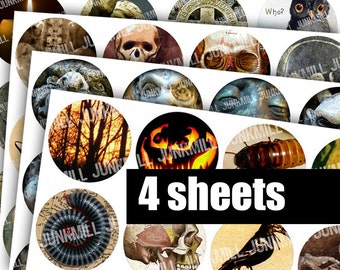 """SPOOKTACULAR CIRCLES - Digital Printable Collage Sheets - Halloween Sale Bundle with Zombies, Anatomy, Edgar Allen Poe, 1"""" Circles, 25 mm"""