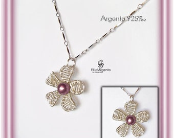 """Pendant """"Flower relief"""" Wire in Silver 925 ‰ and Swarovski Pearl - Craft"""