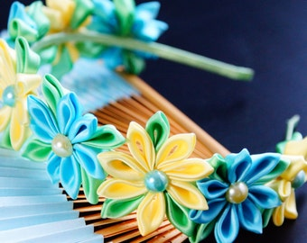 Cute blue and yellow flower crown Kanzashi