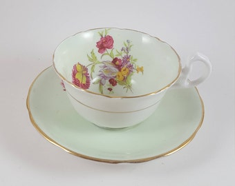 Royal Stafford Pastel Green Floral Teacup