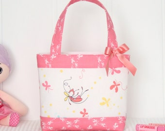 Little Girls Bag / Mini Tote Bag / Girls Bag / Kids Bag - Butterfly  Dance Pink