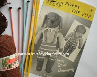 Vintage Knitting Pattern for a WWII Dog Toy, PDF 011 from ToyPatternLand