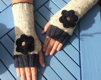 Aran fingerless gloves, hand knit fingerless mittens, wrist warmers, gloves, arm warmers.