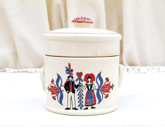Vintage Traditional French Ceramic Lidded Fois Gras Crock Pot with Mask Handles by Sarreguemines, Germanic Pattern from Alsace Region France