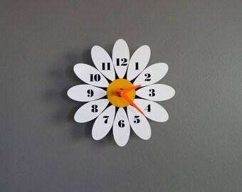 Mid Century Vintage Inspired Bright White Daisy Wall Clock