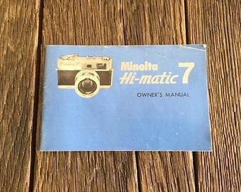Minolta Hi-Matic 7 Camera Owner's Manual - Camera Ephemera - Minolta Camera Owner's Manual - Vintage Minolta Hi-Matic 7 Camera Instructions