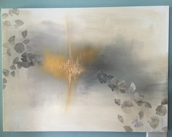 "Gold Leaf, Grey, Yellow, and White Neutral Abstract Painting -Ginkgo Dreams in 30"" x 40"""