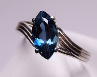 London Blue Topaz Ring, Genuine Gemstone 12x6mm Marquise 2.08ct, Set in 925 Sterling Silver Solitaire Ring