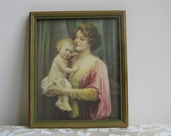 """SALE Vintage Mother Baby Child Portrait Wall Art Litho Print """"A Little Ray of Sunshine"""" in Beveled Wood Frame By Gerlach Barklow Co. USA"""