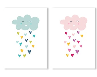 Rainy Cloud Printable, blue cloud printable , pink cloud printable, baby room printable, cloud rain printable, baby shower gift, happy cloud