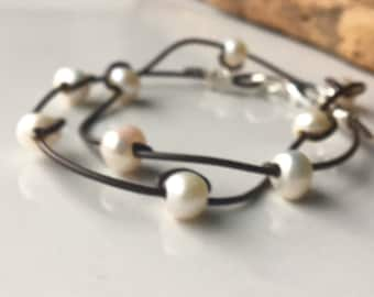 Double Strand Large Hole Pearl Bracelet, Freshwater Pearl Bracelet, Dark Brown Leather Cord, Boho Bracelet, Bohemian Bracelet, Hand Knotted