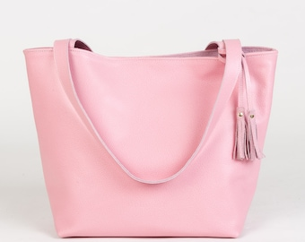 The Emeli Leather Tote (Pastel Pink)