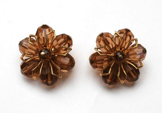 Napier Crystal Earrings  - Topaz  Brown Glass Beads - Gold metal- Flower - Bead cluster -  Clip on earrings
