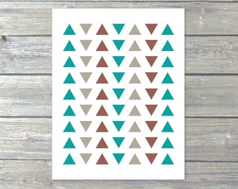 Simple Triangles  - Digital Print - Minimalist Home Decor - Teal Taupe Brown - Tribal - Geometric Poster Under 20