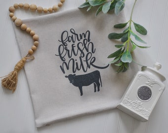 Farm Fresh Milk Pillow Cover |Farmhouse Pillow Cover | Farmhouse Throw Pillow | Farmhouse Cottage Decor
