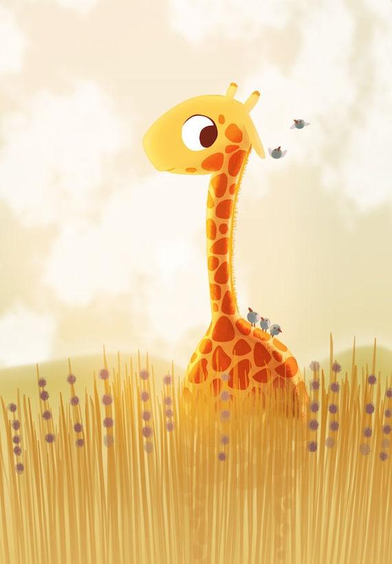Giraffe Print Giraffe Nursery Decor Baby Giraffe Art Modern