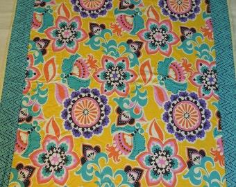 Plush fleece Baby Blanket/Modern Quilt - girl - yellow teal pink purple orange