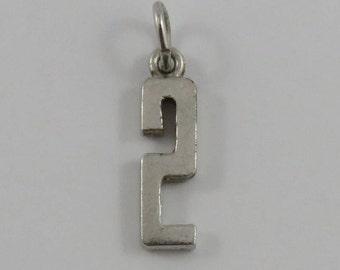 Number 2 Sterling Silver Vintage Charm For Bracelet