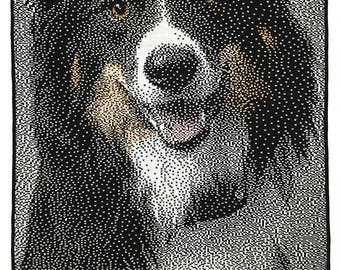 "Portrait of ""Guinness,"" Border Collie portrait, custom dog portrait, portrait from photo, knitted wall art, knitted portrait"