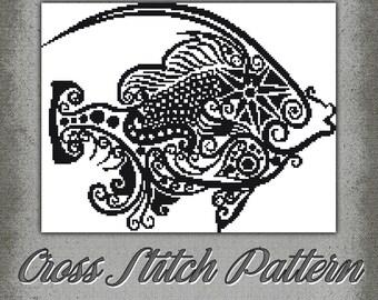 Cross Stitch Pattern Fanciful Fish StitchX Cross Stitch Design Beautiful Graph Instant Download pdf