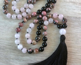 Love Stoned ~ Rose Quartz, Rhodonite & Onyx ~ 108 Bead, Hand Knotted Mala Necklace, Meditation Beads, Mala Beads, Tassel Necklace, Yoga