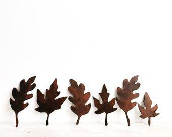 Metal Fall Leaves - Rustic Fall Decor - Rusted Leaves - Set of 6