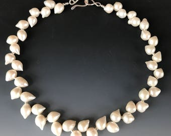 White Pearl Necklace / Classic Pearl Necklace / Freshwater Pearl Necklace / Bridal Pearl Necklace