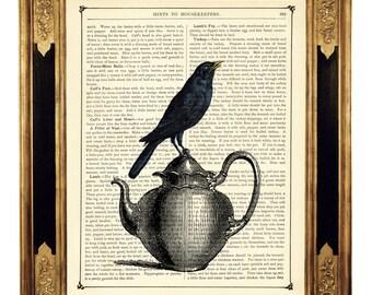 Raven Crow Art Print Bird Teapot Picture Gothic Kitchen  - Vintage Victorian Book Page Art Print Steampunk
